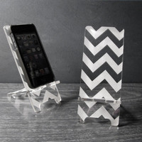 iPhone 5 or iPhone 4 Phone Stand Docking Station - Acrylic Chevron Pattern