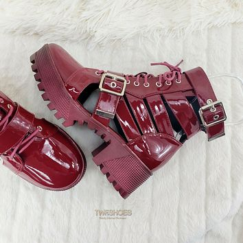 CR Beyond Combat Platform Cut Out Ankle Boot Sandals Size 6-11 Burgundy Wine Red