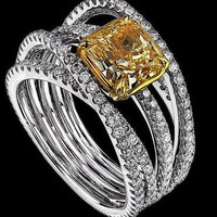 AMAZING 4.10CTW YELLOW CUSHION 925 STERLING SILVER ENGAGEMENT AND WEDDING RING
