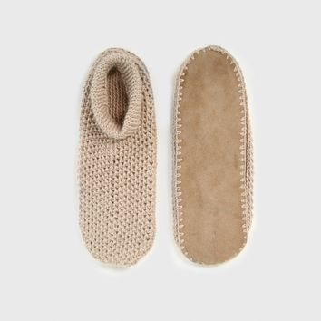 Alpaca Suede Sole Slippers - Oatmeal/Tan
