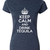 Keep Calm  Drink Tequila Great Gift for the Tequila Tshirt. Lover Ladies and Mens Fit  All Colors & Sizes  Great Gift Idea For Xmas.
