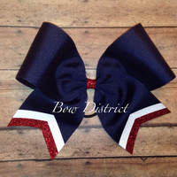 """3"""" Navy Blue Team Cheer Softball Volleyball Bow with White and Red Glitter Tail Stripes"""