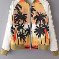 Coconut Tree Print Stand Neck Long Sleeve Jacket