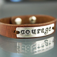 Recycled Silver Inspirational Quote Words Courage Brown Leather Sterling Wristband Cuff Bracelet