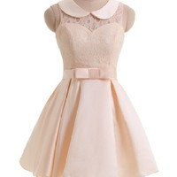 Gorgeous Bridal Junior's Mini Prom Dress Cute Peter Pan Collar (L)