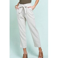 High Waisted Ankle Pants with Front Tie