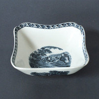WEDGWOOD 'LUGANO' BOWL, Etruria and Barlaston, Black and White Porcelain Dish, 1960s, Switzerland, English Black and White China