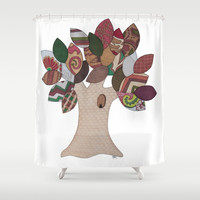 Imp Tree Shower Curtain by Erin Brie Art