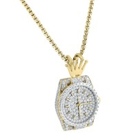 """Sterling Silver Men's 14k Gold Finish Luxury Watch Logo 3D Fully Iced Out Pendant Free Box Chain 24"""""""