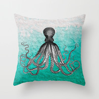 Antique Nautical Steampunk Octopus Vintage Kraken sea monster ombre turquoise blue pastel watercolor Throw Pillow by IGalaxy
