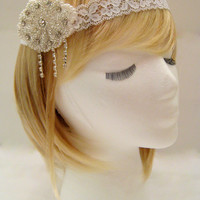 The Caroline - Lace hairpiece, 1920s wedding hairpiece, lace hair wrap, Gatsby bridal hairpiece, art deco wedding, Great Gatsby party
