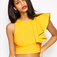 Flounced Side Sleeve Cropped Top