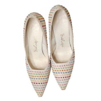 Vintage  White Leather Stiletto Heels Embroidered Unique 1950S Womens 7.5