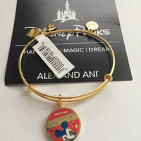 Disney Alex and Ani Parks Mickey Mouse Banner Bangle Gold Finish New Tags