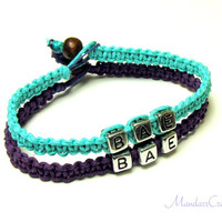 Bae Bracelets, Set of Two, Teal and Royal Purple Hemp Jewelry for Couples or Best Friends
