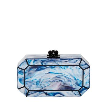 Edie Parker Fiona Faceted Minaudiere - Blue Acrylic Clutch - ShopBAZAAR