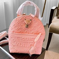 Louis Vuitton LV backpack embossed catwalk handbags small bag pink