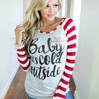 Baby It's Cold Outside Long Sleeve Striped Top Red