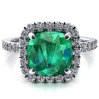 Talia Cushion Emerald 4 Prong Halo 5/8 Micropave Engagement Ring