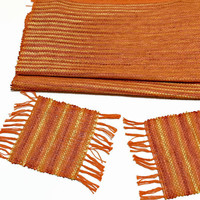 "Rustic Fringe Coaster, Handwoven with Traditional Japanese Paper ""Washi"" (Plant Fiber) and Cotton, Mug Rug in ""Sunset ""Orange Gradient"