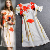 Chiffon Red Flower With Stain Printed Mini Dress