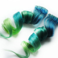 Human Hair Extension, Spring extension hair, extension, green, blue clip in hair, Tie Dye Colored Hair - Sea Dragon