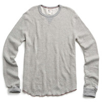 Long Sleeve Jacquard Thermal Tee in Antique Grey Mix