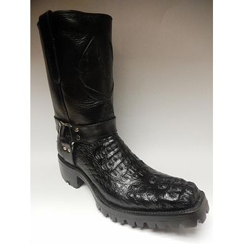 Safari Black Harness Crocodile Biker Boots