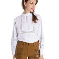 Cuff Sleeve Funnel Collar Embroidery Blouse