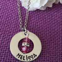 Name Necklace - Flower Girl Necklace - Name Jewelry - Name Birthstone - Personalized Washer necklace