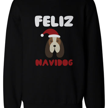 Feliz Navidog Christmas Sweatshirts Funny Beagle Holiday Pullover Fleece Sweaters