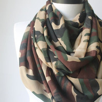 camouflage infinity scarf, scarf, scarves, long scarf, loop scarf, gift