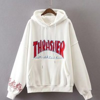 Cute Thrasher Print Loose Long Sleeve Sweater Pullover Hoodies    White