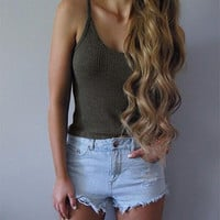 Women Knit Vest Tops Summer Style Fashion Short Design Bodycon Camis Tank Tops Ladies Sexy Cropped Vest