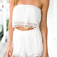 White Strapless Crochet Cropped Top And Shorts