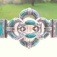 Victorian Scottish Lovers Knot Bracelet, Amazing Design in Silver and Malachite, Lovely Engraving, Wonderful Condition
