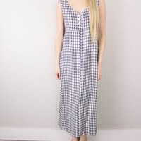 Vintage 90s Black White Plaid Grunge Maxi Dress