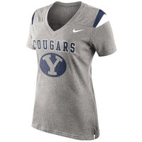 Nike Brigham Young Cougars Ladies Fan Top V-Neck T-Shirt - Ash