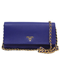 Prada Royal Blue Grain Leather Chain Cross-Body Wallet Clutch Handbag