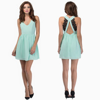 V-Neck Cross Strap Pleated Mini Dress with Lace Accent