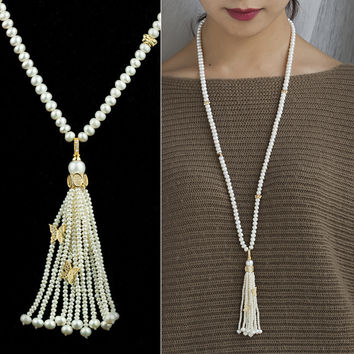 New Arrival Shiny Gift Stylish Jewelry Pearls 925 Silver Sweater Chain Necklace [4914840900]