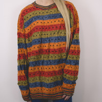 Vintage Bright Autumn Abstract Sweater