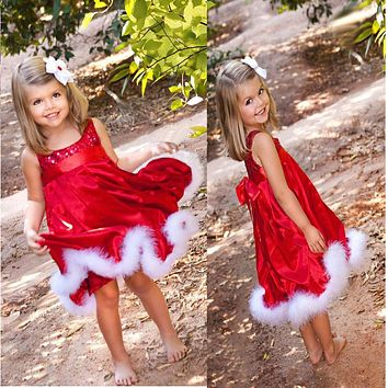 CHAMSGEND Christmas Party Baby Girls Kids Red Paillette Tutu Dresses Xmas Gift For Girl Drop Shipping Oct13