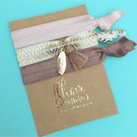 Embellished Charm and Tassel Hair Tie Bracelet Set in Neutral, Taupe with Gold on Gold Foil Cardstock