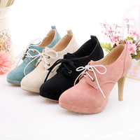 2015 Hot sale fall new fashion sexy soft leather heels lace -up high heel women pumps three color plus size 34-43 women Shoes