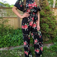 Off Shoulder Ruffled Floral Jumpsuit - Black - Small only