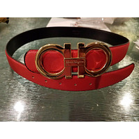 Big Gold Buckle Salvatore Ferragamo Red Belt 34-38