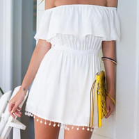White Off the Shoulder Ruffle Tassel Tube Dress