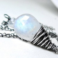 Rainbow Moonstone Necklace, Sterling Silver June Birthstone Pendant