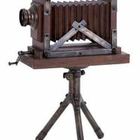 Benzara Wood Metal Camera Entertaining Room Decor With Antique Feel